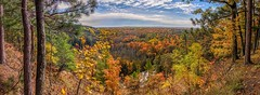 Michigan Gold (Wes Iversen) Tags: buckley htt highrollway manisteeriverhighrollway michigan nikkor18300mm texturaltuesday autumn autumncolor clouds landscapes leaves nature panoramas rivers trees water