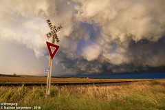 Turbulent (Nathan Jurgensen) Tags: kansas kansasweather weather storms thunderstorm chase stormchase railroad wideangle canon7d