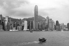 Victoria Harbour (BPPrice) Tags: hongkong ocean monochrome vacation a6300 blackandwhite bw architecture boat 2016 victoriaharbour china sea