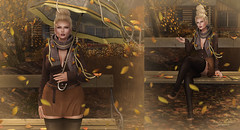 { Come little leaves, said the wind... } (Trinetty Skytower) Tags: sl secondlife avatar digital virtual pose photography autumn fall windy natures izzies astralia blueberry reign belleza theseasonsstory elua laq kirin