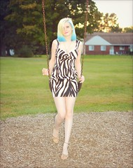 Athena - Park (rbatina) Tags: rubbertoe amateur model modeling pose posing pretty young woman cute pale teen white girl beautiful bare skin teenage blond blonde hair blue highlights thin little petite dress skirt mini miniskirt outside outdoors park eyes nose mouth lips face arms shoulders legs cleavage zebra striped revealing outfit print hot feet chest necklace jewelry makeup hips waist october 16 16th 2016 playground curvy tight clothes