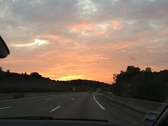 Sun's coming ... (goforchris) Tags: holidays hf hfholidays morning early taxis sunrise motorways france provence autumn