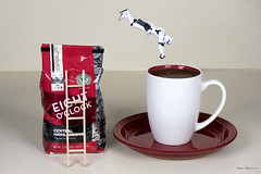 Stormtrooper Coffee Dive (Eugene Lagana) Tags: starwars stormtroopers plastic toy toys coffee fun red dive funny macro