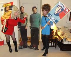 Kirk vs. Spock! (rgaines) Tags: costume cosplay crossplay drag startrek tos dragqueens halloween highheelrace kirk spock funny humor election yeomanjanicerand