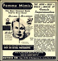 Femme Mimics 1960 Female Impersonation Ray Leen Book Ad (Harald Haefker) Tags: gay classic promotion female vintage magazine ads print advertising drag book pub publicidad reclame femme ad crossdressing retro anuncio advertisemen