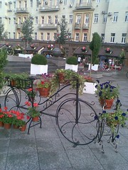 bicycle for flowers (VERUSHKA4) Tags: city red summer house flower detail tree green bike wheel stairs square nokia iron europe cityscape russia moscow metallic object telephone decoration august decor verdure hccity
