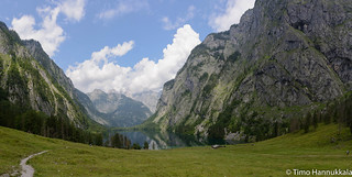 Panorama landscape of Lake Obersee in the Berchtesgaden National Park