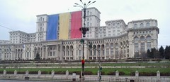 bucharest palace of the parliament - getting ready for the national day celebration (axelina2000) Tags: building romania bucharest nationalday palatulparlamentului palaceoftheparliament