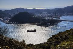 Kanmon Straits (ogawa san) Tags: bridge sea sun water japan  yamaguchi straits   kokura   shimonoseki   kanmon  dannoura kyushuu     ganryujima  honshuu   mokji
