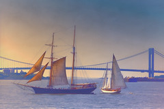 New York Bay (Artypixall) Tags: nyc bridge texture dusk getty sailboats atlanticocean faa newyorkbay verrazano–narrowsbridge