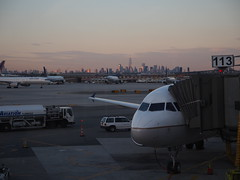 Newark Airport with New York City skyline in the background.