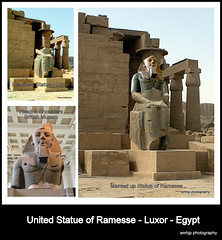 United Statue Of Ramesses Luxor Egypt (amhjp) Tags: heritage history photoshop temple nikon britain westbank egypt historic arabic arab egyptian pharaoh historical aswan luxor pharoah ramses hieroglyphics archeological egyptians pharaohs pharohs egyptoct2010 amhjpphotography amhjp egyptluxor2 egyptluxor2012 ramesium hyroglithics
