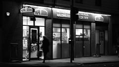 Nocturnal feedings habits of the local wildlife (byronv2) Tags: street blackandwhite bw food monochrome night restaurant scotland blackwhite edinburgh dusk candid pizza pizzeria nuit papajohns edimbourg fountainbridge polwarth edinburghbynight dundeeterrace