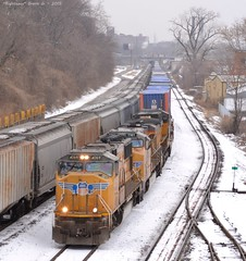 "ZTUG4 in Kansas City, MO (""Righteous"" Grant G.) Tags: city railroad up yard train power pacific union railway trains double stack east missouri kansas locomotive unit eastbound intermodal"