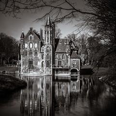 Belgium | Bazel (| M. Sebregts - Photography) Tags: bw sun white black reflection tree castle water sunshine sepia creek spring europe belgium belgie sony antwerp lente antwerpen kasteel bazel a5000