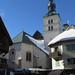 Chevet de l'église St Jean-Baptiste, Megève, Haute-Savoie, Rhône-Alpes, France.
