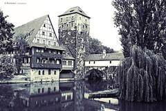 Nuremberg. Pegnitz River (raperol) Tags: blancoynegro rio germany arquitectura edificios 300d paisaje bn alemania reflejos airelibre