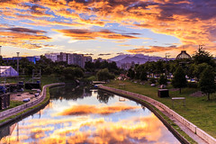 () Tags: red sky sun sunrise river taiwan