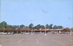 Beaumont Village Shopping Center, Beaumont, Texas (SwellMap) Tags: postcard vintage retro pc chrome 50s 60s sixties fifties roadside midcentury populuxe atomicage nostalgia americana advertising coldwar suburbia consumer babyboomer kitsch spaceage design style googie architecture mall shop shopping plaza