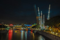 Thrill (elenaleong) Tags: boats nightscape bluehour touristattractions clarkequay singaporeriver gmaxreversebungy thrillseekers boattrails extremethrill