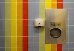 Up above the streets and houses, rainbow climbing high... (Garden_Gnome) Tags: wc public toilet tiles tile toilets hand dryer basin wash room rest colour colourful rainbow rainbows bog mens nettie sunderland seaburn