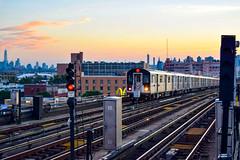 DSC_0598 (IntExp7) Tags: nyc nycsubway ny newyork newyorkcity newyorkcitysubway 7train 7 7line irtflushingline queens sunnyside skyline manhattanskyline trains train r188 sunset gothamist