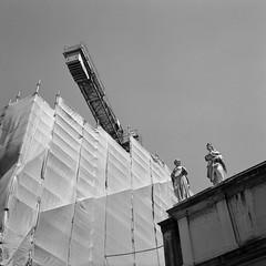 Construction, Padua, Italy (austin granger) Tags: austingranger construction padua italy tarp statues time crane evidence talk shapes square film gf670