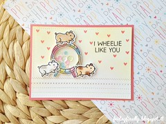 cricetini shaker LF and PPP card (fridayfinally) Tags: love hearts happy handmade critters sequins hamsters wheelie copic embossing handmadecard shakercard copicmarkers distressink clearstamps lawnfawn lawnfawnstamps prettypinkposh lawnfawndies crittersparty iwheelielikeyoustampset