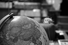 wanderlust (brescia, italy) (bloodybee) Tags: 365project globe world map earth plane airplane aeroplane flight fly stilllife travel trip journey wanderlust home bokeh draw bw