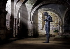 Contemplation I (Langstone Joe) Tags: contemplation soundii anthonygormley sculpture winchester winchestercathedral crypt hampshire sunrays