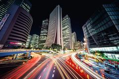 Day 217/366 : Meteor showers of Shinjuku (hidesax) Tags: 217366 meteorshowerofshinjuku light trails steam skyscrapers nishishinjuku shinjuku tokyo japan night nightscape cityscape hidesax sony a7ii voigtlnderheliarhyperwide10mmf56asphericalvmmount 366project2016 366project 365project