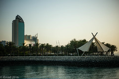 The walk and the city... (EHA73) Tags: summiluxm11450asph leica leicamp typ240 salmiya kuwait kuwaitscientificcenter city building towers trees sea seaside shoreline walk