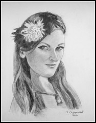 The Flower Girl - Black & White Pencil Drawing Done by STEVEN CHATEAUNEUF (2016) - This Photo Of This Drawing Was Also Taken by STEVEN CHATEAUNEUF (snc145) Tags: girl art pencil pencildrawing face flowers flowergirl necklace monochrome blackwhite 2016 stevenchateauneuf female pretty beautiful flickrunitedaward thisphotorocks