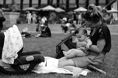 L1002976 (kogh65) Tags: new york photography photo travel art 2016 nyc ny street black white leica m mono tone city outdoor life people depth field reportage young kogh candid camera focus pov picture 50mm image manhattan artist kogh65 girl sun park hot tanning bw bryant public sunny blackandwhite monochrome mother baby