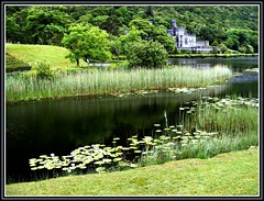 a house at the lake (Maewynia) Tags: celtica2016 lake lough pollacapull lilypads reeds castle kylemore abbey