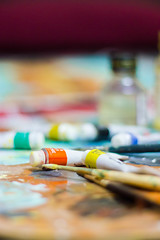 Oil Painting & Photography (VikramDeep) Tags: oilpainting colors oilcolors brush painting canon es550d 50mm f18 india landscape canvas colortray tray blur depth field dof
