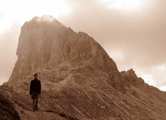 Refuge Walking, The Dolomites (Ren193) Tags: explore dramatic sepia contrast brother tom walk refuge morning mist mysterious smile mountain italy summer scree rock light sky cloud