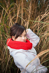 Iris (Novafly) Tags: iris          girl taiwan coat scarf winter red