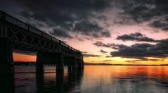 Rail Bridge Dusk. (stonefaction) Tags: dundee river tay scotland dusk sunset twilight gloaming tayrailbridge