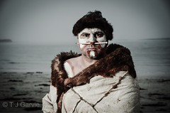 Jamie in Traditional Possum Skin Cloak (T J Garvie) Tags: portrait beach sunrise moody traditional aboriginal atmospheric australianaboriginal