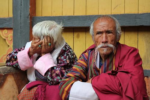 Jakar tshechu, old lady and man