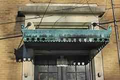 Verdigris Awning (lefeber) Tags: door windows newyork building architecture rural awning town shadows village verdigris angles panes brickwall oxidation smalltown eveninglight catholicschool hudsonvalley weathering highlandfalls
