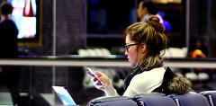 Toronto - Airport - multitasking (No Name D) Tags: toronto ontario hot fall nerd glasses airport phone geek laptop to oblivious yyz 2014 cyyz stalkarazzi