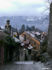 Annecy Street (Edouard.G photo) Tags: street winter house mountain france colour annecy montagne nikon solitude quiet hiver silence lonely maison rue couleur seul chemine pavs d40