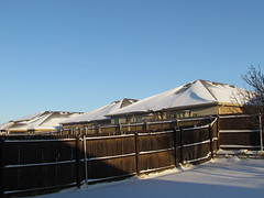 The sun is out this morning! HFF (libraryrivergirl) Tags: sun snow snowstorm roofs