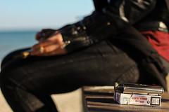 christina 2 (Kostas Gourgiotis (Cost@s)) Tags: winter sea wild sexy girl leather scarf canon flask photoshoot cigarette christina smoke journal smoking jeans jacket lucky strike brunette bikers kostas 50mmf18ii a 60d gourgiotis
