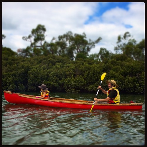 063/365 • two days ago it was high tide at lunchtime and I took my Dad down the inlet in Oomoo (my small red boat) while #M headed out behind us in the canoe with Zoe • #063_2015 #water #hightide #canoe #7yo #blindbight #autumn2015 #Westernport #latergram