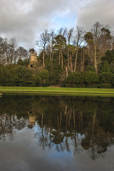 Octagon Tower-from moon pond (ginger_scallywag) Tags: xmas uk trees winter england lake tree tower abbey silhouette photoshop canon picnic dusk deer swans watergarden georgian fountains nationaltrust northeast stmaryschurch christmascake cs6 templeofpiety octagontower fountainshall eos40d moonpond tamron17300
