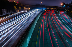 baden street overpass (pbo31) Tags: sanfrancisco california winter motion color green night nikon highway view traffic infinity over january freeway bayarea d800 280 2015 lightstream missionterrace