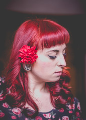 carnation series (antioxidentz_photography) Tags: flowers roses portrait selfportrait closeup canon vintage curls headshot 50mm14 retro tattoos redhead rockabilly modified redlips lipstick carnation bangs redhair beautyshot plugs moded 6d bettiebangs canon6d